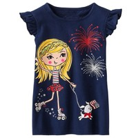 Baby girl Toddler Infant girls blank ruffle sleeve t shirt printing in Navy color