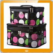 Traveler 2-Piece Polka Dots Cosmetic Train Case