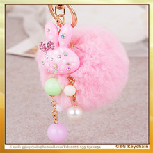 Y91018 Factory Direct Sale Creative Fashion Rabbit Hair Ball Key chain Wholesale