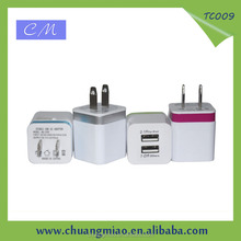 Dual 2.1A USB AC adapter wall charger for Samsung/htc/blackberry/Nokia universal travel charger for ipad/smartphone