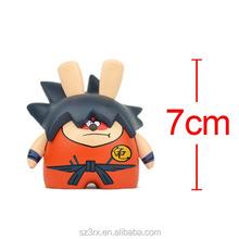 Mini Qute Mask Bear 6.5cm boy gift plastic reloading Dragon ball Son Goku Anime action figures Cartoon toy car Decoration models
