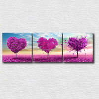 3 panels wall painting printed on canvas heart trees beautiful canvas prints for modern home decoration No Frame