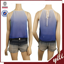 2016 S/S New fashion sleeveless blue color summer lady blouse & top