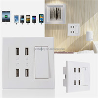 New Arrival 250V 10A 4 ports USB Charging Wall Plug Socket Power Switch Outlet Faceplate LED