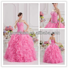 2013 Latest Designer Colorful Ball Gown Puff Pink Real Pictures Quinceanera Dress Pageant Dresses 07-113