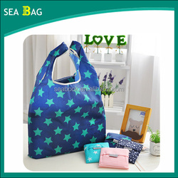 Cheap Nylon Foldable Shopping Bag with Printing Green Stars