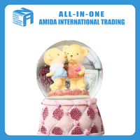 Cartoon creative gift Crystal handicraft Resin water polo music box wholesale