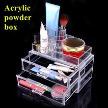 Factory price acrylic box makeup organizer custom for acrylic products dressing case powder glass shelf cosmetic dresser