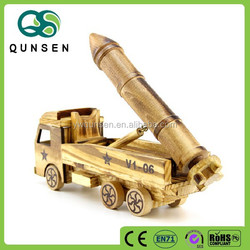 decorative wooden carved model car toy with missile