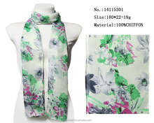 2016 new design flower printed long chiffon scarf yiwu factory