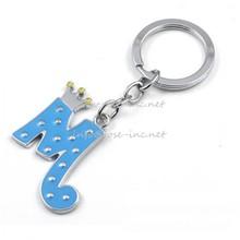 Rhinestone m letter key chain
