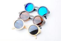 Vintage round bamboo sunglasses model, small MOQ bamboo sunglasses in stock BM1038