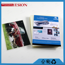 Yesion 2015 Hot Sales! China Manufacture Credit Card Lamination Film Pouch, A4 Glossy Photo Hot Lamination Pouch Film
