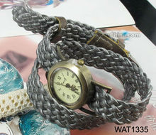 Woven leather watch bracelet for promotional gift