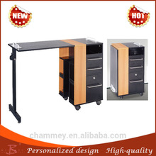 comfortable feel wood nail table with round corner,wooden double beautiful beauty desk