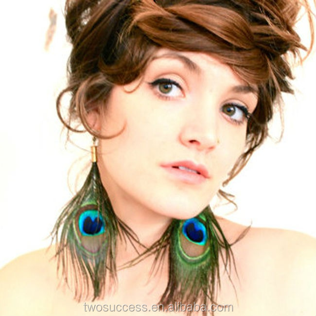 Fashion Large Earrings Peacock Feather Earrings for Women .jpg