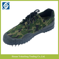 Military wearable outdoor low cut rubber sole camouflage canvas shoes