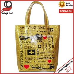 Glittering PVC Bling Bling Tote Bag With City Name Printing