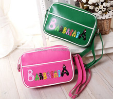 New arrival school pink leather sport satchel bag cute child messenger bag
