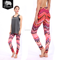 Red fancy pattern printed tight girls in leggings for fitness
