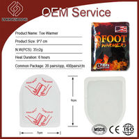 2015 cheaper toe warmer foot warmer size 9*7cm has CE/MSDS/ISO oem