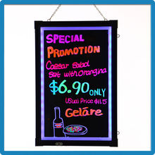 Alibaba express turkey 40*60cm tempered glass battery powered mini led menu board writing board