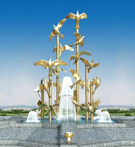 edelstahl skulpturen garten statuen goldene fliegende vogel skulpturen