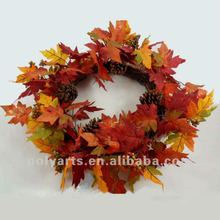 competitive price maple leaves wreath with pinecone,seasonal wreath
