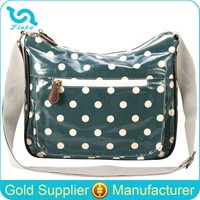 Fashion Green Polka Dot Oilcloth Side Girls Shoulder Bags For School