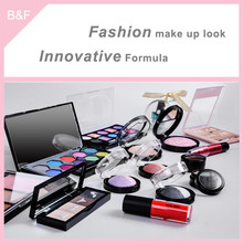 Eyeshadow set for oem service lady cosmetics eyeshadow kabuki loose powder container with nylon brush