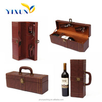 Custom logo printed high quality leather portable wine carrier 2015
