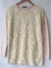 Fashon crochet knitted pullover lady's garment stock lot