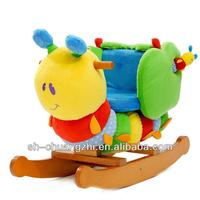 hot sale caterpillar rocking horse ride on toys plush present gift baby cartoon wooden plush chairs children toy