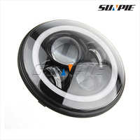 """Custom Silver 7"""" Round 40W LED Projector Motorcycle Headlight For Harley"""