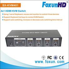 Foxun/OEM 4 port usb auto KVM Switch,,up to 1920*1440