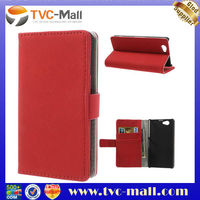 Gravel Grain Protective Leather Case Wallet for Sony Xperia Z1S Z1 Mini - Red