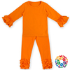 New Cheap Solid Color Two Pieces Orange Childrens Boutique Clothing Wholesale Baby Girls Children Ruffle Clothing Set