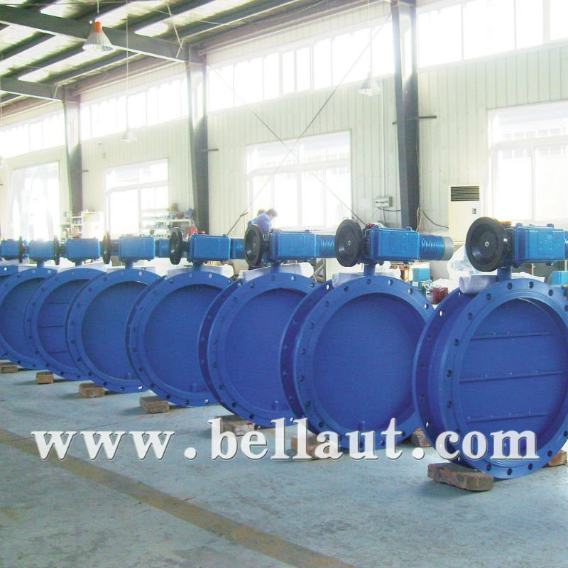 Motorized ductile iron butterfly valve damper