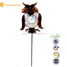 Metal owl stake garden outdoor thermometer