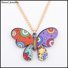 Newei 2015 Latest Jewelry Accessories Acrylic Animal Design Butterfly Necklace For Women