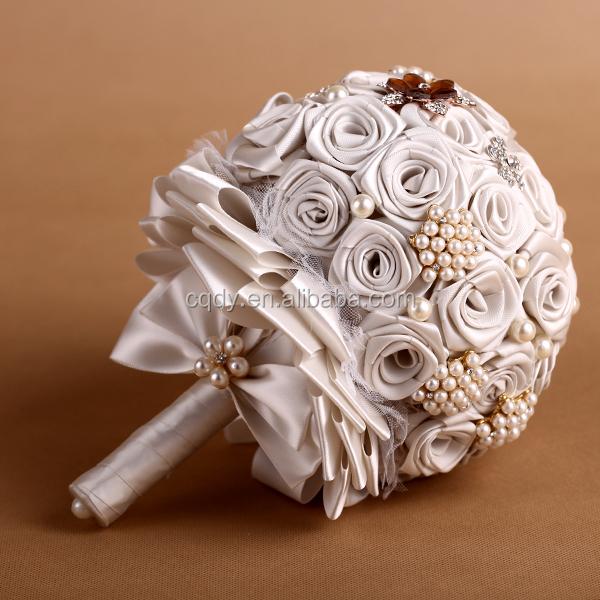Brand New Satin Wedding Flower Bouquet,Beautiful Artificial Ivory ...