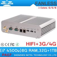 Fanless PC i7 Intel Core I7 Mini PC i7-4500U 8G RAM 32G SSD 1TB HDD POS System