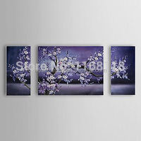 Hand Painted Oil Painting Floral Blossom Plum Flowers 3 piece canvas art