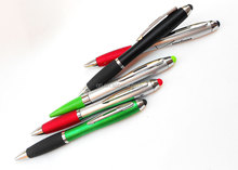 2 in 1 stylus twist plastic ball pen with silicon tip for touch iphone
