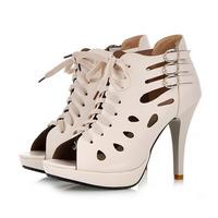 Jusity 2015 Latest High Heel Sandal Boots Stilettos High Heel Shoes Peep Toes Heels