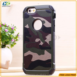 Super fashion camouflage phone case hard PC cases for Samsung S6 ,for iphone 6 2 in 1 hybrid case
