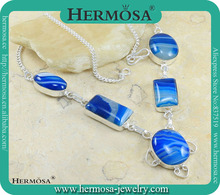 Summer Products Smart Necklace With Ocean Blue Botswana Agate Fashion 925 Sterling Silver Jewelry N2685