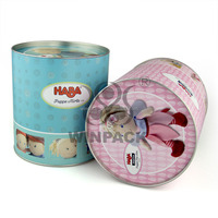 toy packaging paper cans with push up metal lids