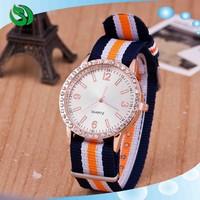 New 2015 Geneva Nylon Woven Strap Rose Gold Watch