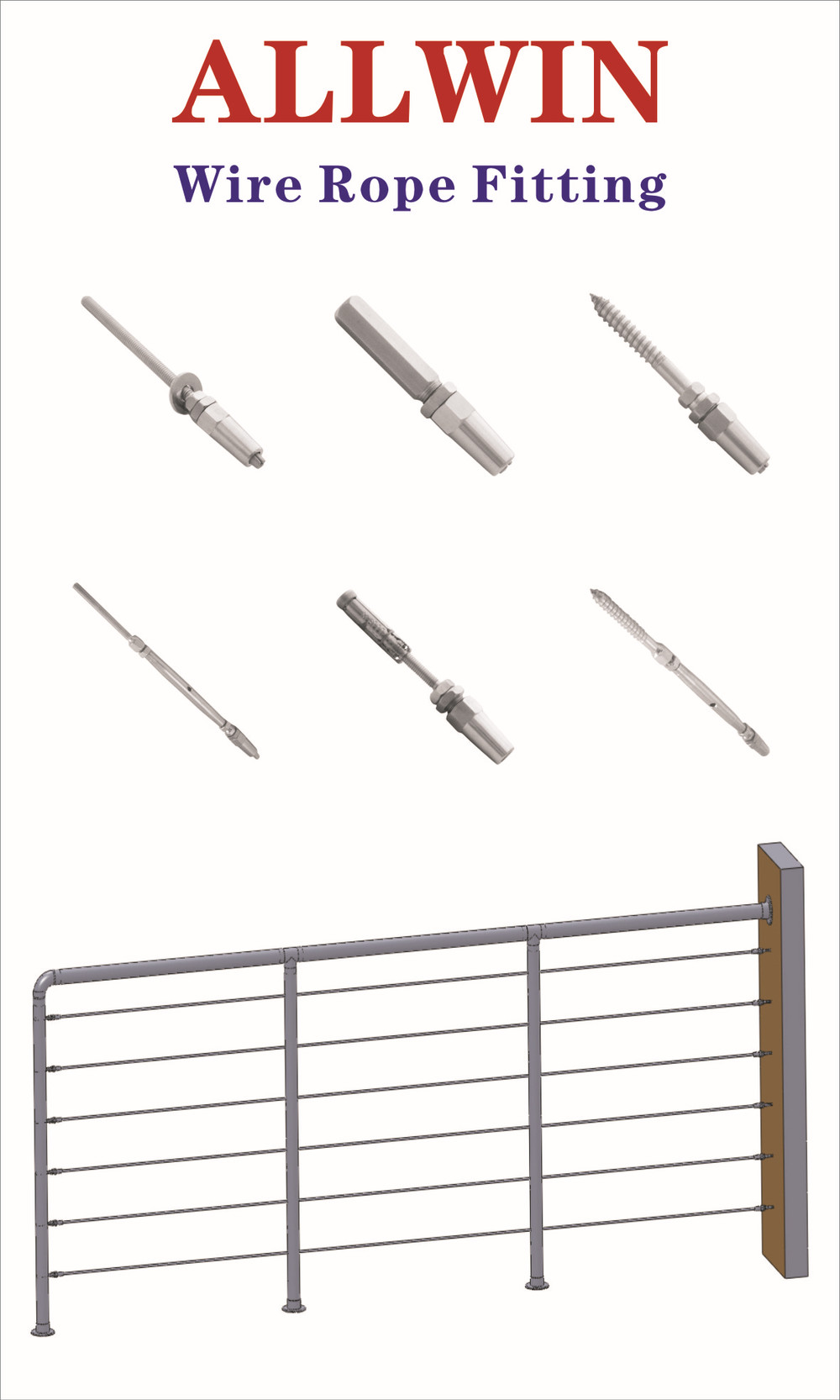 Stainless steel end terminal swageless turnbuckle wire